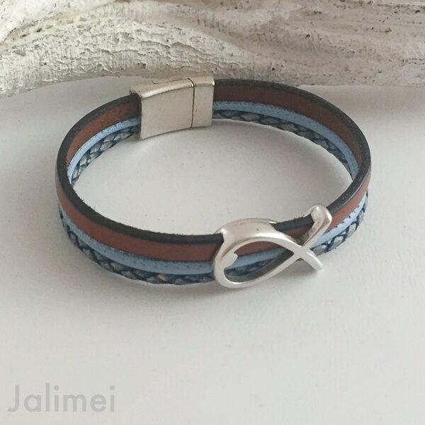 Armband mit Fisch Konfirmation cognac-blau