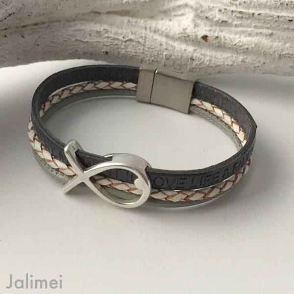 Armband mit Fisch Konfirmation grau-weiß