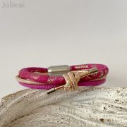 Lederarmband Knoten in pink