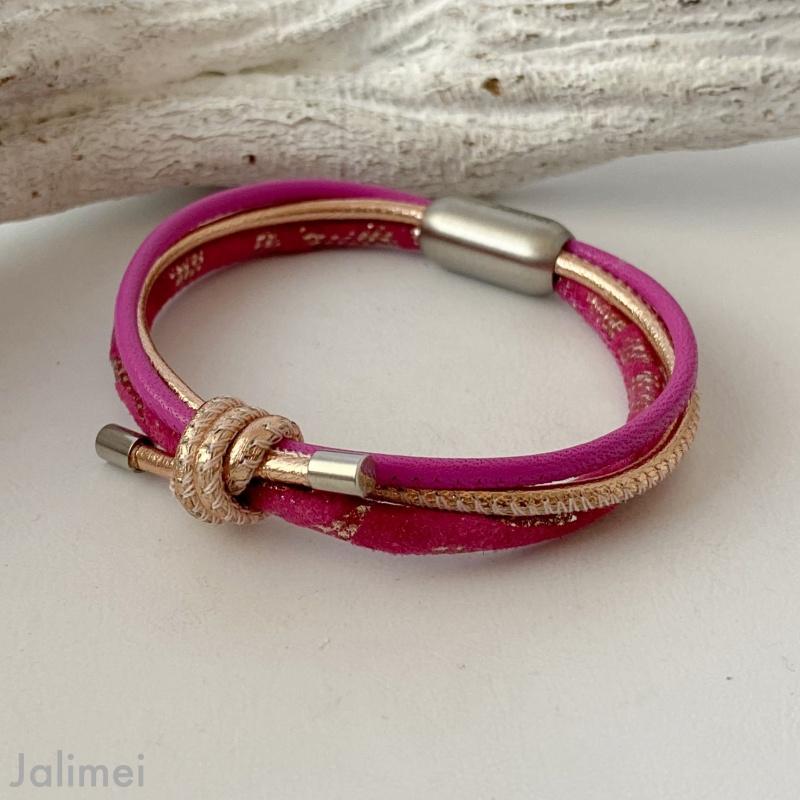 Lederarmband mit Knoten pink