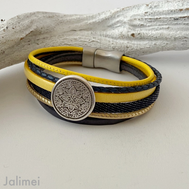 Lederarmband Mandala gelb blau