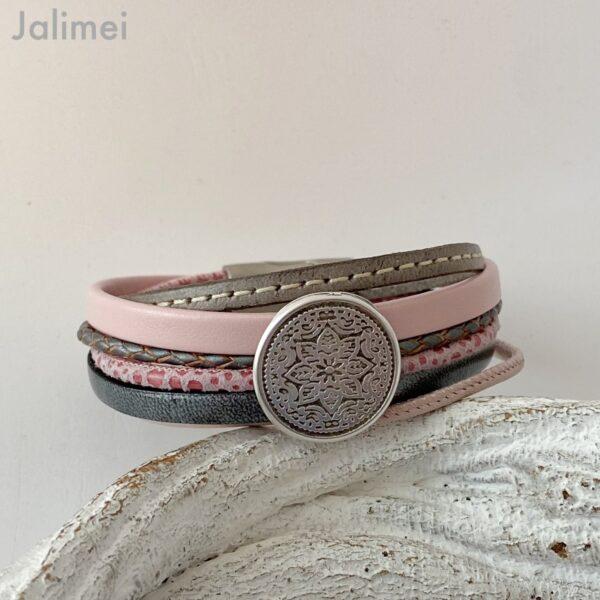 Lederarmband Mandala rosa-grau
