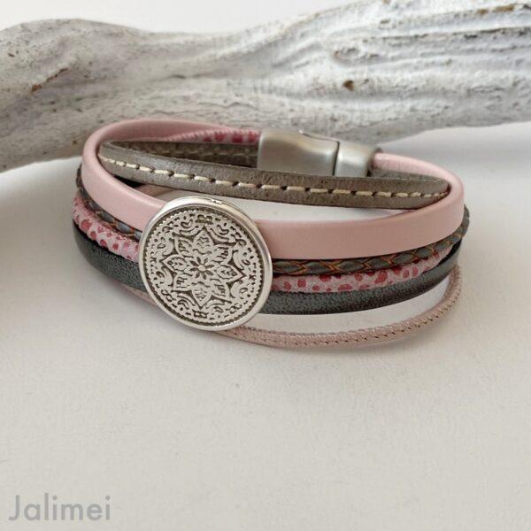 Lederarmband Mandala in rosa-grau