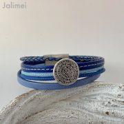 Lederarmband kleine Phaistos Scheibe blau