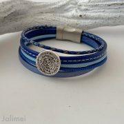 das Lederarmband kleine Phaistos Scheibe in blau