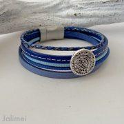 Lederarmband kleine Phaistos Scheibe in blau
