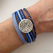 das Lederarmband kleine Phaistos Scheibe blau