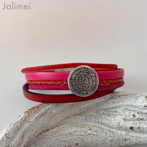 Lederarmband kleine Phaistos Scheibe rot-pink