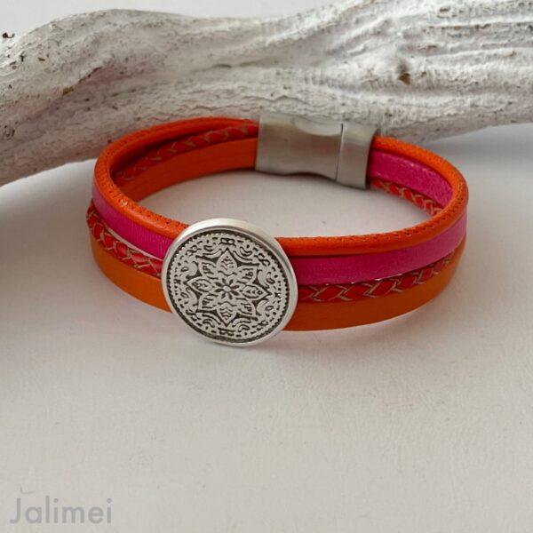 Lederarmband mit Mandala orange pink