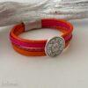 Lederarmband Mandala in orange pink