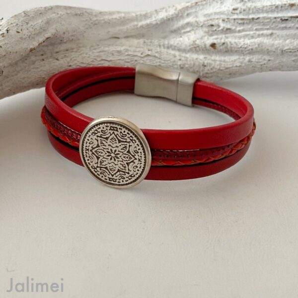 knalliges Lederarmband Mandala in rot