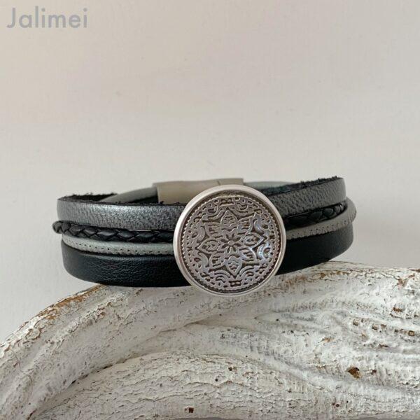 Lederarmband Mandala schwarz-grau
