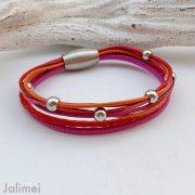 knalliges Lederarmband Nappa pink orange und rot