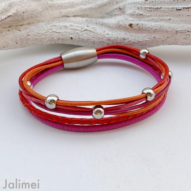 knalliges Lederarmband Nappa pink orange rot