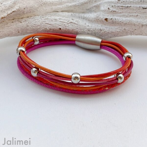 knalliges Lederarmband Nappa in pink orange rot