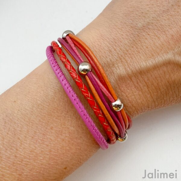 knalliges Lederarmband Nappa pink orange rot