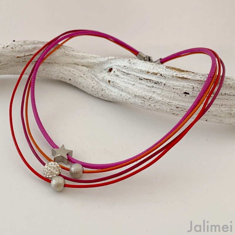 Ledercollier Glitzer Stern pink orange rot