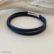 schlichtes Wickelarmband aus Nappaleder in navyblau