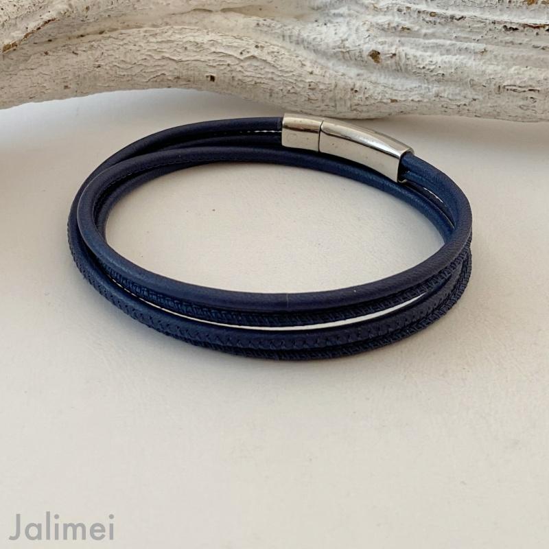 schlichtes Wickelarmband aus Nappaleder navyblau