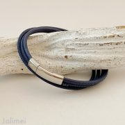 schlichtes Wickelarmband Nappaleder in navyblau