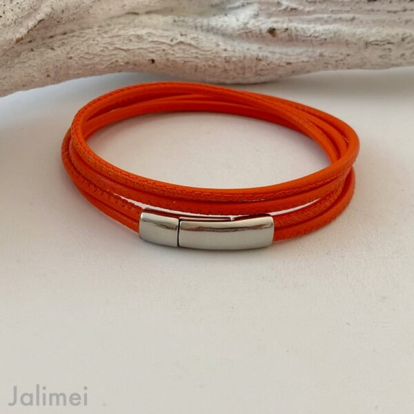 Schlichtes Wickelarmband aus Nappaleder in orange