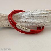 schlichtes Wickelarmband aus Nappaleder rot