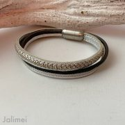 Lederarmband Chainball in silber