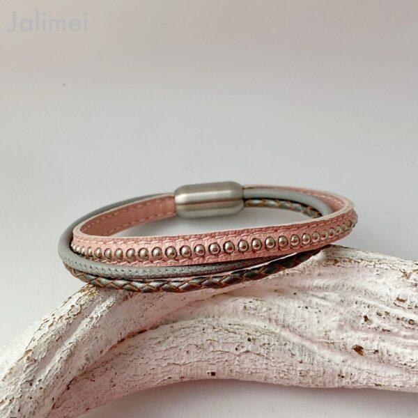 Lederarmband Chainball rosa-grau