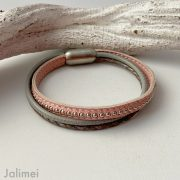 Lederarmband Chainball in rosa-grau
