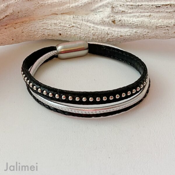 Lederarmband Chainball in schwarz