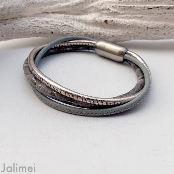 Lederarmband Nappa Damasco in grau