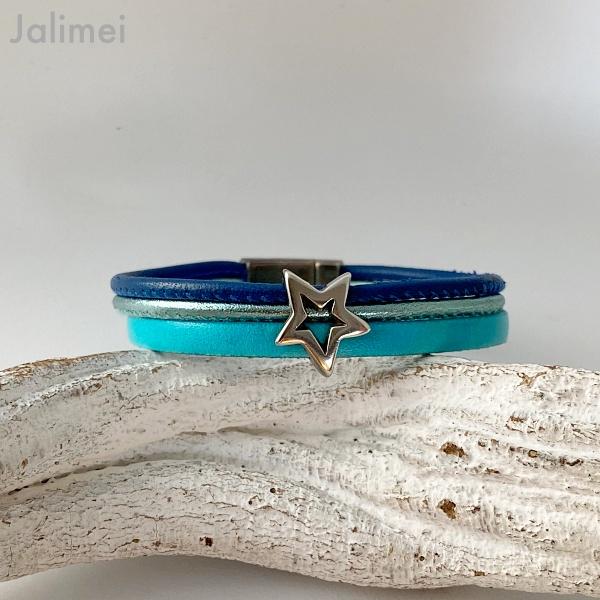 Lederarmband offener Stern türkis blau