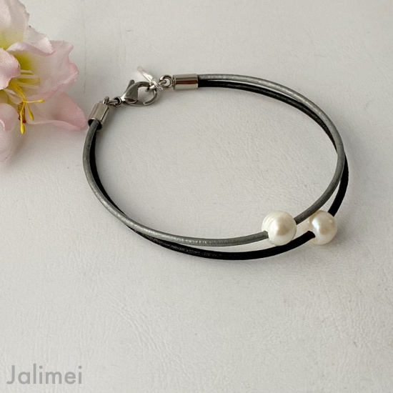 Lederarmband Perle schwarz grau