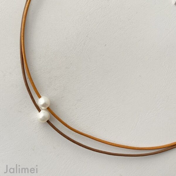 Ledercollier Perle in braun