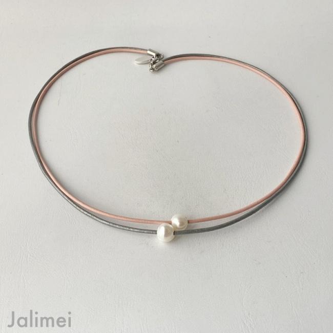 Ledercollier perle rosa-grau