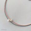 Ledercollier perle in rosa-grau