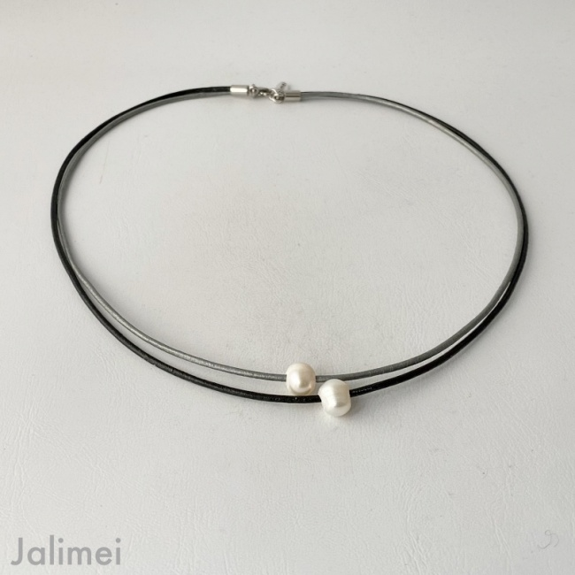 Ledercollier Perle schwarz-grau
