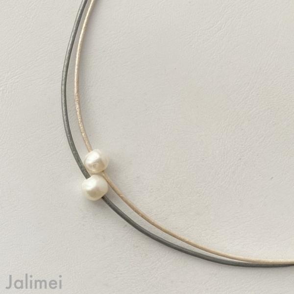 Ledercollier Perle perlmuttweiß grau